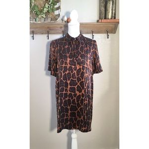 Equipment Cheetah Animal Print Silk Shift Dress
